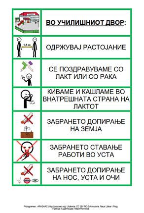 Правила во училишниот двор за време на COVID-19